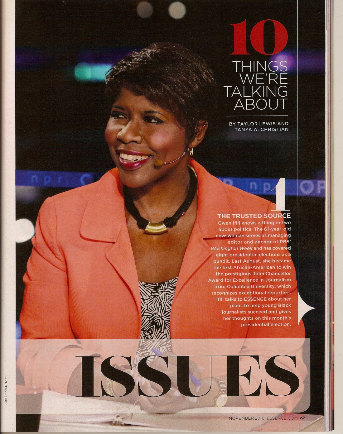 Gwen Ifill from the November 2016 issue of Essence Magazine.