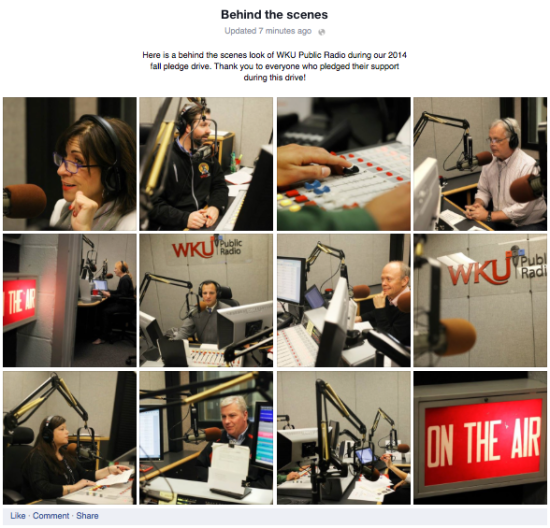 Behind the scenes photos of the WKYU hosts and reporters during the fall 2014 pledge drive.